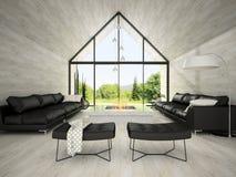 Intérieur du salon 3D de conception moderne rendant 3 photographie stock libre de droits