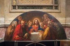 Intérieur du St Isaac Cathedral à St Petersburg, Russie Mosaïque le dernier dîner photo libre de droits