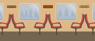Intérieur du train dans des couleurs brunes illustration de vecteur