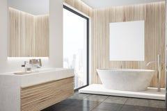 Intérieur en bois de salle de bains, baquet, côté d'affiche illustration libre de droits