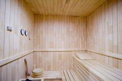 Intérieur en bois de sauna Photographie stock libre de droits