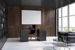 Intérieur en bois foncé de lieu de travail de bureau illustration