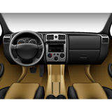 Intérieur en cuir beige de voiture - camion d'intérieur, tableau de bord Photographie stock libre de droits