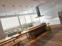 Intérieur ensoleillé moderne de cuisine avec le plancher en bois photographie stock