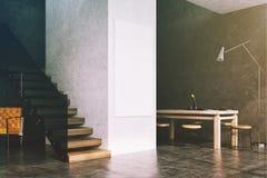 Intérieur, escaliers et affiche de salle à manger de Gary modifiés la tonalité Image libre de droits