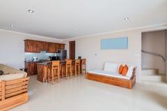 Intérieur et salon spacieux de villa images stock