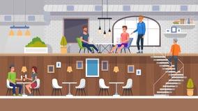 Intérieur européen de restaurant Les gens mangeant le déjeuner illustration de vecteur