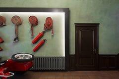 Intérieur faisant le coin de caserne de pompiers Images stock