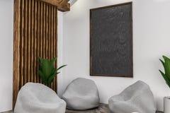Intérieur, fauteuils et tableau noir blancs de café illustration de vecteur