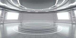 Intérieur futuriste abstrait avec les panneaux rougeoyants Photo libre de droits