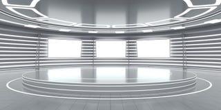 Intérieur futuriste abstrait avec les panneaux rougeoyants Photographie stock libre de droits