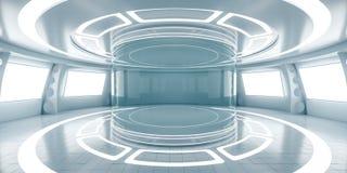 Intérieur futuriste abstrait avec les panneaux rougeoyants illustration libre de droits