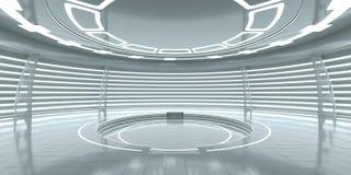 Intérieur futuriste avec le podium rougeoyant vide Photos stock