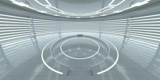 Intérieur futuriste avec le podium rougeoyant vide Photographie stock libre de droits