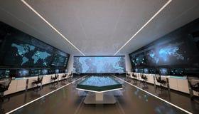 Intérieur futuriste de centre de commande, hologrammes et grands écrans illustration stock