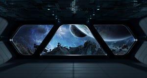 Intérieur futuriste de vaisseau spatial avec la vue sur l'exoplanet illustration libre de droits