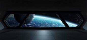 Intérieur futuriste de vaisseau spatial avec la vue sur terre de planète illustration de vecteur