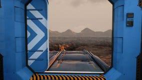 Intérieur futuriste de vaisseau spatial Vue de Sci fi rendu 3d illustration libre de droits