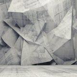 Intérieur gris vide du béton 3d avec le mur polygonal chaotique photo stock