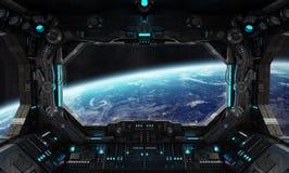 Intérieur grunge de vaisseau spatial avec la vue sur terre de planète illustration libre de droits