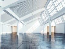 Intérieur industriel propre blanc rendu 3d illustration libre de droits