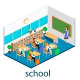 Intérieur isométrique d'école Photographie stock libre de droits