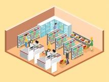 Intérieur isométrique d'épicerie Photos libres de droits