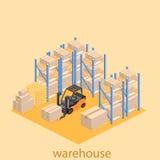 Intérieur isométrique d'entrepôt Les boîtes sont sur les étagères Images libres de droits