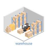 Intérieur isométrique d'entrepôt Les boîtes sont sur les étagères Image stock