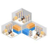Intérieur isométrique d'entrepôt Les boîtes sont sur les étagères Illustration 3d plate Photos stock
