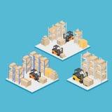 Intérieur isométrique d'entrepôt Les boîtes sont sur les étagères Illustration 3d plate Images libres de droits