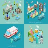 Intérieur isométrique d'hôpital Docteur Appointment, réception d'hôpital, premiers secours d'ambulance, soins de santé Photo libre de droits