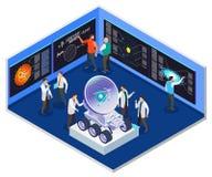 Intérieur isométrique de centre de recherche d'astrophysique illustration libre de droits