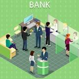 Intérieur isométrique de la banque avec des personnes illustration libre de droits
