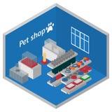 Intérieur isométrique de magasin de bêtes Chats et chiens toilettant, jouant et alimentant l'équipement Magasin vétérinaire isome Image stock