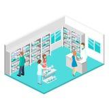 Intérieur isométrique de pharmacie Image libre de droits