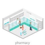 Intérieur isométrique de pharmacie Photo stock