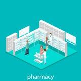 Intérieur isométrique de pharmacie Photographie stock libre de droits