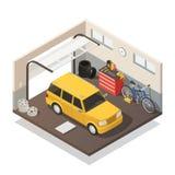 Intérieur isométrique de service de maintenance de voiture illustration stock