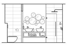 Intérieur linéaire architectural de salle de bains de croquis illustration stock
