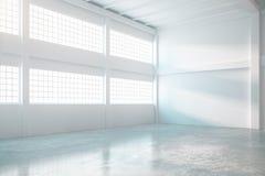 Intérieur lumineux de hangar illustration de vecteur