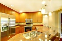 Intérieur lumineux de pièce de cuisine avec des appareils de bar de cuisine et d'acier inoxydable Photos libres de droits