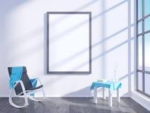 Intérieur lumineux moderne avec le cadre vide 3D rendant la pièce de l'illustration 3D, Scandinave, sofa, l'espace, vers le haut  illustration libre de droits