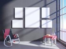 Intérieur lumineux moderne avec le cadre vide 3D rendant la pièce de l'illustration 3D, Scandinave, sofa, l'espace, vers le haut  illustration stock