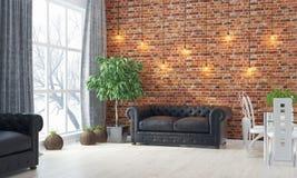 Intérieur lumineux moderne 3d rendent Image libre de droits