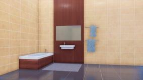 Intérieur lumineux moderne de salle de bains avec le mur carrelé 3D clips vidéos