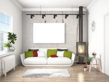 Intérieur lumineux moderne rendu 3d Photographie stock libre de droits