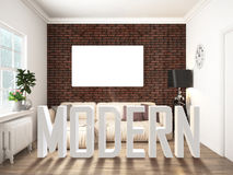Intérieur lumineux moderne rendu 3d illustration de vecteur