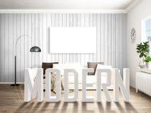 Intérieur lumineux moderne rendu 3d illustration libre de droits