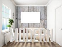 Intérieur lumineux moderne rendu 3d Photos stock